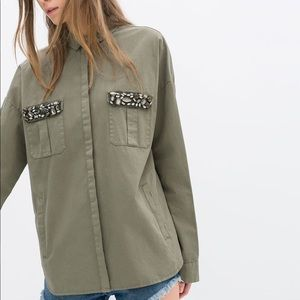 Zara Olive Green Khaki Jeweled Military Camp Shirt